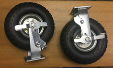"2 x 10"" Pneumatic FIXED Braked Castor Wheels"