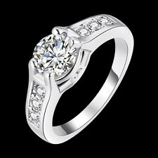 Classic 18k 18ct White Gold Filled CZ Woman Wedding Ring Size8  R-A332