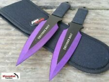 "8"" BIOHAZARD 2 Piece Tactical Throwing Knife Set Purple Fixed Blade Ninja KUNAI"