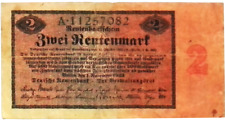 1923 Germany 2 Rentenmark Banknote - 2000000000000 Mark replacement
