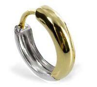 375 ECHT GOLD *** Kleine Einzel-Creole Ohrring bicolor 12 mm