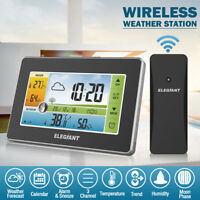US ELEGIANT LCD Digital Wireless Weather Station LCD Thermometer Humidity Alarm