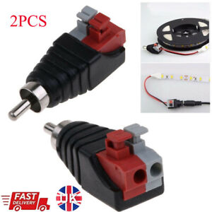 2Pcs Speaker Wire A/V Cable to Audio Male RCA Connector Adapter Press Plug