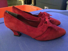 *VINTAGE* VENEZIA Red Suede Victorian / Edwardian Granny Shoes w/ Bows - Size 7W