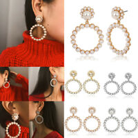 Women Pearl Crystal Circle Statement Drop Dangle Earrings Wedding Jewelry Gifts