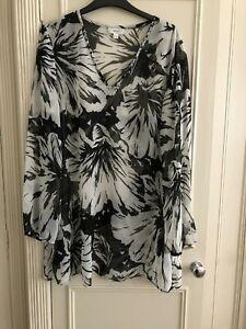NEXT Black & White semi sheer V-Neck Tunic Beach cover up Dress Top. Size 14 42