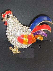 Cockerel Rooster Hen Bird Diamante and Enamel Stunning Brooch Pin New