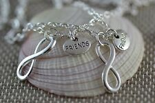 NI017-2 Two Infinity Friends Necklaces, Best Friend, Sisters, Forever, Love