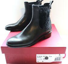 "Salvatore Ferragamo $1108 Black Leather & Mink ""Falk Chelsea"" Boots SZ 8 NEW~"