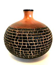 Bubble Vase Brown Round Ceramic Modern Decor Art Pottery 6 3/4 inches Tall