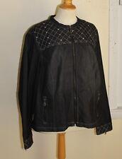 Glitterscope -Sz 2X Distressed Jean Denim Charcoal Embroidered Glam Jacket Coat