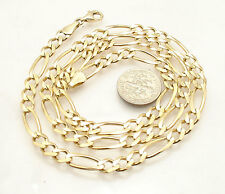 """22"""" 6mm Mens Solid Figaro Chain Necklace Genuine Real 14K Yellow Gold 25.20gr"""