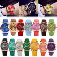 Fashion Geneva Women Leather Band Stainless Steel Quartz Analog Wrist Watch 013L