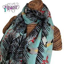 Bleu pâle écharpe avec TOUCANS et les feuilles de palmiers femmes superbe doux qualité sarong