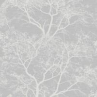 WHISPERING TREES GLITTER WALLPAPER GREY / SILVER - HOLDEN 65401 FEATURE WALL NEW