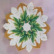 "ANTIQUE 8-1/2"" MEISSEN TRIPLE MAPLE LEAF PLATE: GREEN, GOLD, AND WHITE"