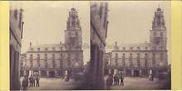 Francia Calais Hotel De Ville Foto Stereo Vintage Albumina Ca 1865