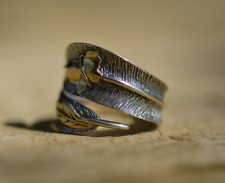 925 Sterling Silver Feather Ring Adjustable Butterfly, Leaf Gold statement