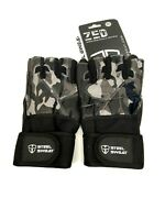 Steel Sweat Workout Gloves XXL CAMO ZED Wrist Wrap Weightlifting Gym Fitness