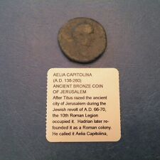 Aelia Capitolina Ancient Roman Bronze Coin with She Wolf, Jerusalem AD 138 - 280