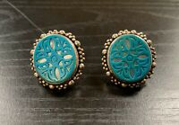 Stephen Dweck 925 Sterling Silver Carved Turquoise Flower MOP Clip Earrings Deco