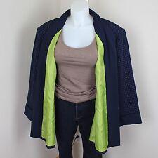 Maggie Barnes 4X NWT Navy Blue Polka Dot Open Front Jacket Blazer Lime Green