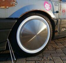 """4x Moon Caps + Weißwandringe TÜV 14"""" Zoll Radzierblenden Oldtimer Cadillac Ford"""