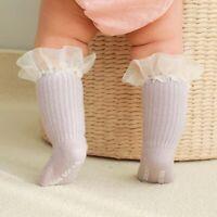 Toddler Lace Baby Girl Leg Warmers Baby Ruffle Socks Cotton Knee High Sock