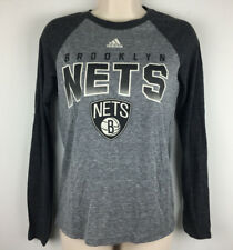 NEW adidas Brooklyn Nets Basketball NBA Raglan T Shirt Long Sleeve Gray Youth M