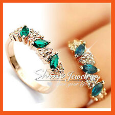 18K ROSE GOLD GF Green MARQUISE PERIDOT Simulated Diamond SOLID ETERNITY RING
