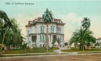 California 2nd Empire Residence: Mansard  Roofs. Dormer~Palm Trees~1910 Postcard