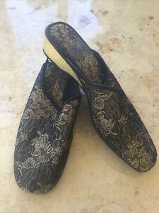 M&S Ladies Mule Slip On Slippers Size 7 Black/Gold BNWT