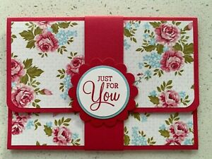 Handmade gift card holder Mother's Day/For you/birthday options. Pink flowers