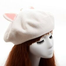 New Cute Cat Ear Beret Handmade White Felted Wool Hats for Girls Gifts One Size