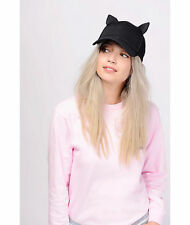 H&M Trend Kendall & Kylie Baseball Hat w/Ears Black Kitty Leather Cap One Size
