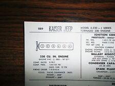 1966 Kaiser Jeep SIX J-Series 6-230 Models Tornado 230 CI L6 Tune Up Chart