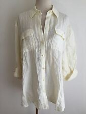 Micheal Kors Button Front Shirt Blouse Creped Ivory/Creme Size M