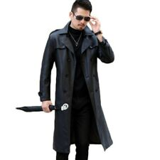 Men's Long Coat Leather Jackets Trench Waterproof Dust Overcoat Double Breasted