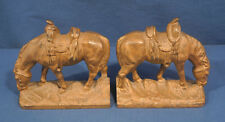 Vtg Antique Cast Iron Horse Book Ends Full Figure Orig. Gold Paint Heavy Signed