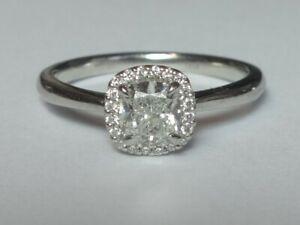 PLATINUM 0.52CT GIA CERT H SI1 CUSHION DIAMOND & 20 DIAMOND HALO CLUSTER RING