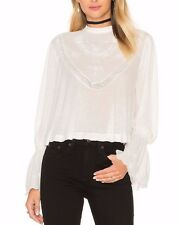 151513 New Free People Femme Fatale Lace Embroidered Bell sleeve Blouse Top S