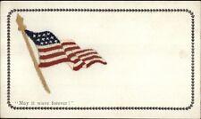 American Flag - Silk Embroidered Patriotic c1910 Postcard