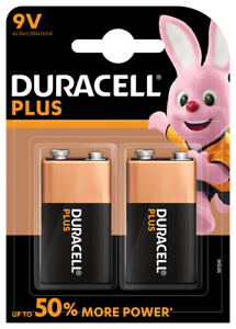 2 x Duracell 9V Plus Power Alkaline Batteries Duralock 6LR61 MN1604 Long Expiry