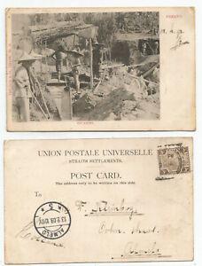 MALAYA PENANG FMS 1909 PC Tin Mining, Penang to Holland @3c rate   Ed. Pritchard