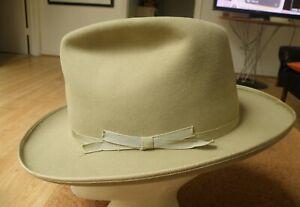 RARE Vintage 50's Stetson SOVEREIGN Open ROAD Style Texas FEDORA Hat! 7 1/8-BID!
