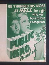 "1935 movie herald..""PUBLIC HERO NUMBER ONE""..Lionel Barrymore, Jean Arthur"