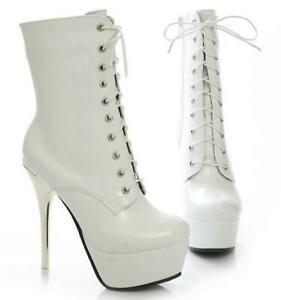 Women Platform High Heels Ankle Boots Fashion Stilettos Lace Up Party Shoes Chic