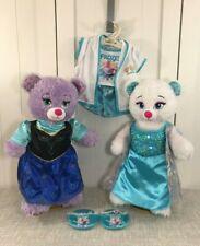 "💜 Build A Bear Disney Frozen Anna & Elsa Plush Set 18"" Tall w/ Dresses & PJs 💜"