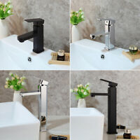 Single Hole Deck Mount Bathroom Basin Mixer Faucet  Sink Chrome/Black Water Tap