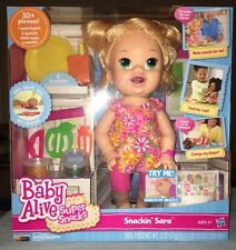 Baby Alive Super Snacks Snackin Sara 30+ Phrases English & Spanish NIB
